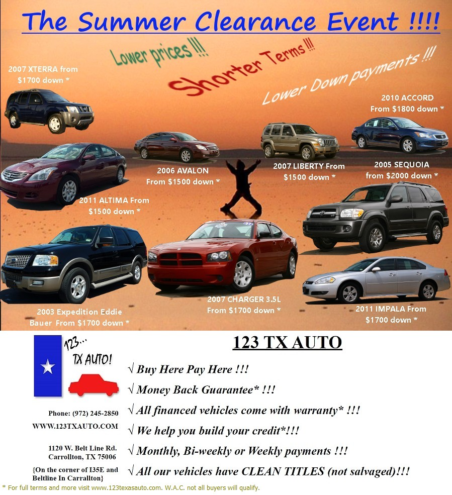 Car Dealerships That Finance Bad Credit: 123 TX AUTO Is A Buy Here Pay Here Used Car Dealerships In